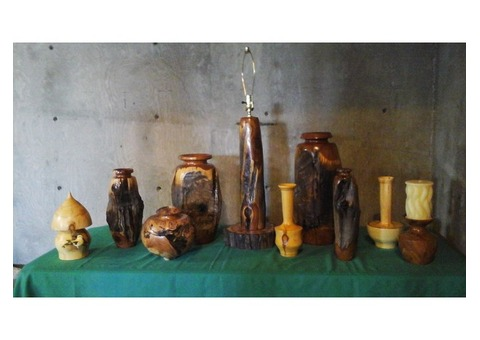 Beautiful turned wood vases, etc. Made from aspen and cedar